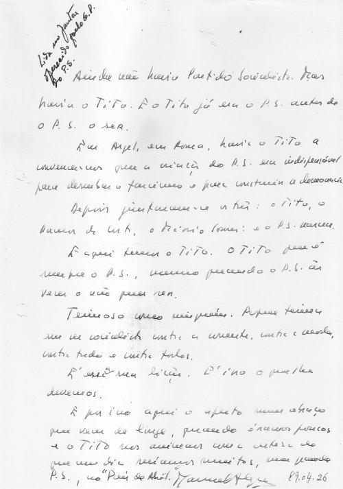 Manuscrito Manuel Alegre