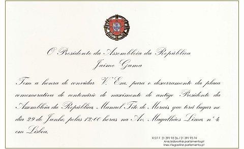 Convite Placa Evocativa Casa de Tito de Morais