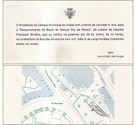 Convite CML - Busto de Tito de Morais