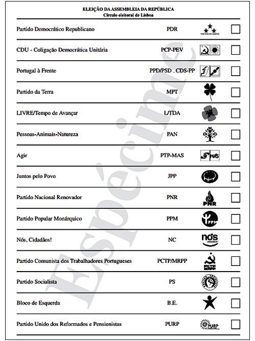 Boletim de voto Lisboa legislativas 2015
