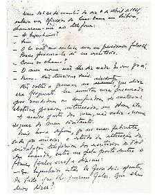 Registo manuscrito da prisão em Luanda