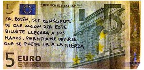 Euro com escritos